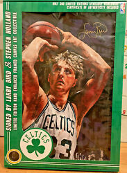 Coa Signed Larry Bird And Stephen Holland Lithograph Painting Art Work 28 X 41