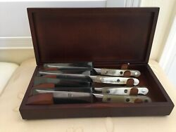 Zwilling Henckels Germany Pro Horn Steak Knife Set Wood Box 795 Authentic New