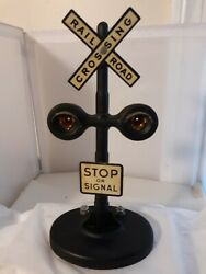 Vtg American Flyer Metal Railroad Crossing Stop On Signal Light Up Train Sign