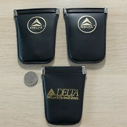 Lot Of 3 Delta Airlines Vintage Pouch Key Purse Protector Keychain Key Ring