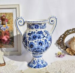 Royal Delft Vase With Floral Patterns The Original Blue Collection