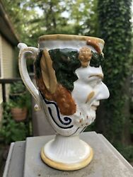 Antique Frog Surprise Mug English Prattware Satyr Character Early 1800s