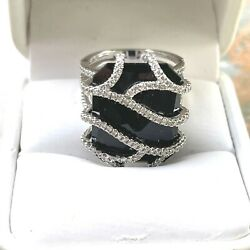 Diamond And Black Onyx Ring In 14k White Gold,1.20ct T.w. Make A Statement Ring