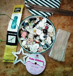 Lot Of Vintage Buttons In Cloth Covered Box Mixed Lot Of Buttons Lace Zippers