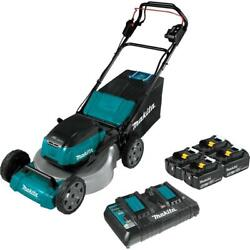 Cordless Walk Behind Self Propelled Lawn Mower Kit With 4 Batteries18 Inch 36v