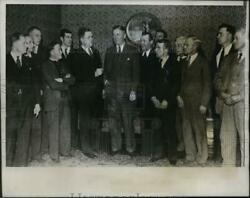 1933 Press Photo Mn +governor Floyd Olson And Strike Leaders Jj Fosse In Mn