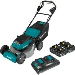 Cordless Walk Behind Self Propelled Lawn Mower Kit With 4 Batteries 21 Inch 36v