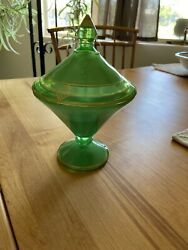 Art Deco Candy Dish With Frosted And Plain Green Glass And Gold Painted Details
