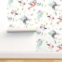 Removable Water-activated Wallpaper Large White Fantasy Mythical Bird Butterfly