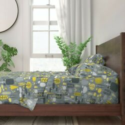 Yellow Gray Forest Nature Tree Kids 100 Cotton Sateen Sheet Set By Spoonflower