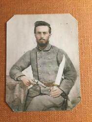 Confederate Civil War Soldier W/pistol/bowie Knife Historical Rp Tintype C375rp