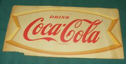 Coca Cola Sign Rare Vtg Authentic Gold Fishtail Window Transparency Early 1960's
