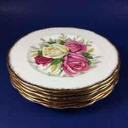 Queen Anne Lady Sylvia Fine Bone China Bread And Butter Plates - Set Of 6