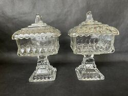 Set Of Crystal Wedding Compote Covered Clear Pattern Adams 1890 Fruit Bowl Eapg