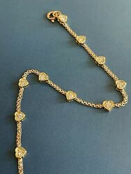 18ct Yellow Gold Diamond Bracelet 0.90ct Solitaire Heart Chain By Yard Nr 1ct