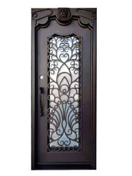 Parker Single Front Entry Iron Door Rain Glass 38x 96 Right Active