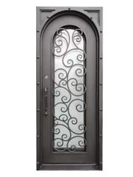 Hudson Single Front Entry Iron Door Rain Glass 38x 96 Right Active