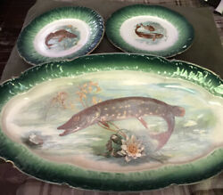 """La Belle China 22"""" Platter And 2-9"""" Dinner Plates, Fish Design, Green-great Cond."""
