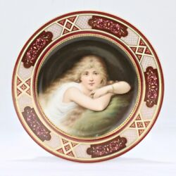 Fine Signed Hp Royal Vienna Porcelain Cabinet Plate - Beauty Lady Weh Pc