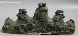 China Marked Bronze Fengshui Dragon Loong Dragons Pixiu Brave Troops Pen Rack