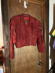 Luz Roberts Robert Elliot Red Suede Motorcycle Jacket Fringed Size Small Cc