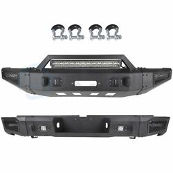 Heavy Solid Front / Rear Bumper W/ Led Light Bar D-rings For 07-13 Toyota Tundra