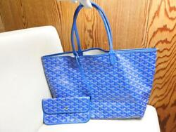Goyard Saint Louis Pm Used Tote Bag Blue Pvc Leather With Pouch