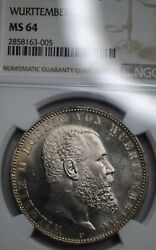1913f Germany Wurttemberg 5m Marks Silver Coin Ngc Ms64
