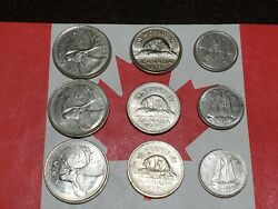 All Low Mintage 9 Canadian Coins 3x1996 25andcent And 3x1990 10andcent And 3x1970 5andcentandnbsp