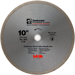 Mk Diamond, 167031, 10, Contractor Continuous Rim Wet Cutting Tile Saw Blade