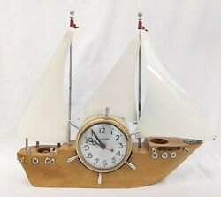Vintage Mastercrafters Flying Cloud Ship Boat Yacht Mantle Clock Parts Repair