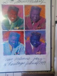 Fats Domino New Orleans Poster 1989 Jazzfest 20th Anniversary Signed Nice