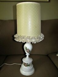 Vtg 50's Milk Glass Handpainted Roses W Swiss Dot Parchment Shade Bedroom Lamp