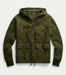 Rrl Wwii Quilted Cotton Jersey Hoodie 1/2 Zip Pullover-men- M