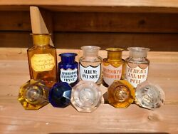 Lot Of 5  19c Antique Medical Apothecary Pharmacy Glass Bottles W/ Blue And Amber