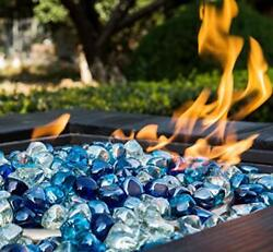 Chilli Cosmos Fire Glass Diamond 1 Inch Fire Pit Glass Rocks For Propane Or G...