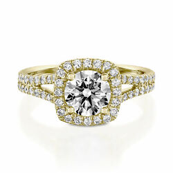 1 3/4 Ct Diamond Engagement Ring Round Cut H/si2 14k Yellow Gold Size 7