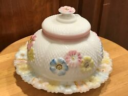 Cosmos Wild Rose,daisy Dome Butter Dish Milk Glass Raised Flowers Pink Blue Eapg