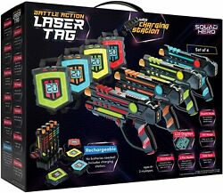 Rechargeable Laser Tag Set + Innovative Lcds And Sync Andndash 4 Infrared Guns And Vests