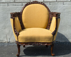 Walnut English Living Room Chair Antique 1920's Newly Upholstered And Restored