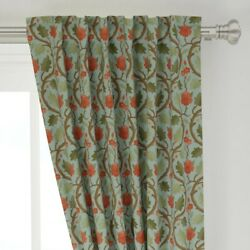 Forest Serpentine Edwardian Floral Ornate 50 Wide Curtain Panel By Roostery