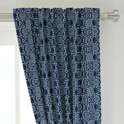 Silver Blue Tarnish Midnight Snowflake 50 Wide Curtain Panel By Roostery
