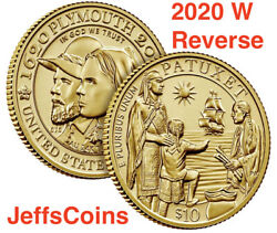 2020 W Reverse 400th Anniversary Of Mayflower Voyage 10 Gold Proof Coin 20xc