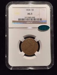 1838 Classic Head Gold Half Eagle 5 Ngc Ag3 Cac Lowball About Good Lowest Pop1