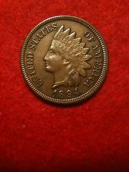 1894/1894 Doubled Misplaced Date Rpd Indian Head Cent Au About Uncirculated Xf