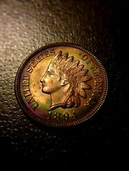 1894 Indian Head Cent Brilliant Uncirculated Bu Ms Red Rd Sharp Penny Toning
