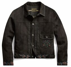 Rrl Embroidered Limited Edition Western Suede Leather Jacket- Xl