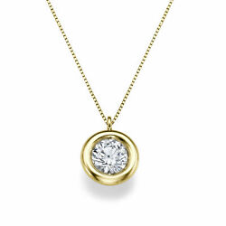 New 18kt Yellow Gold Round Cut Solitaire Diamond Pendant Necklace 1.00 Ct F/vs1