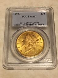 1892-s Ms62 Pcgs Liberty Double Eagle 20 Gold Coin Very Good Mint State Coin