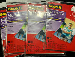 Scotch 3m Self-sealing Laminating Pouches Variety Pack 15 Pouches New Lot Of 4